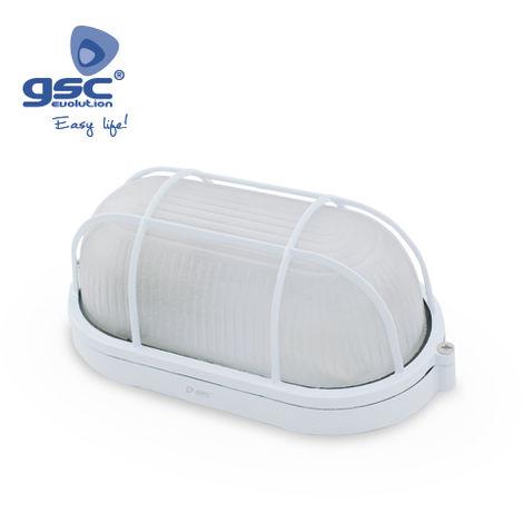 Aplique ovalado alum.rejilla E27 Max.60W Blanco