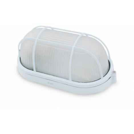 Aplique ovalado de aluminio con rejilla BLANCO E27 GSC 0700782