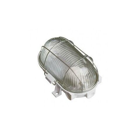 Aplique ovalado PVC con rejilla metálica E27 60W Blanco GSC 0700643