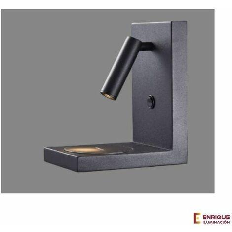 Aplique pared blanco o negro con cargador por inducción para el móvil Led 3w | Blanco - 0