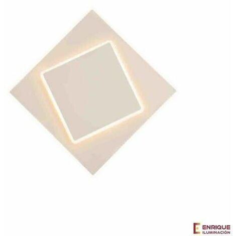 Aplique pared cuadrado blanco Dakla 12w luz calida