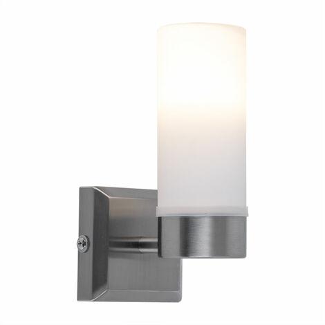 Aplique pared Iluminación sala baño Lámpara espejo Cristal opal blanco en conjunto con bombilla LED