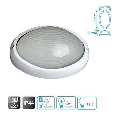 Aplique semi-ovalado de aluminio E27 IP44 GSC 0700454