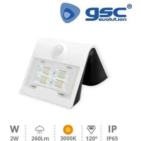 Aplique solar con sensor 2W 3000K Blanco