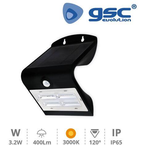 Aplique solar con sensor 3,2W 3000K Negro