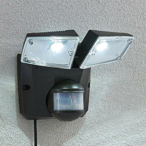 Aplique solar LED Ignaz, 2 focos, gris oscuro