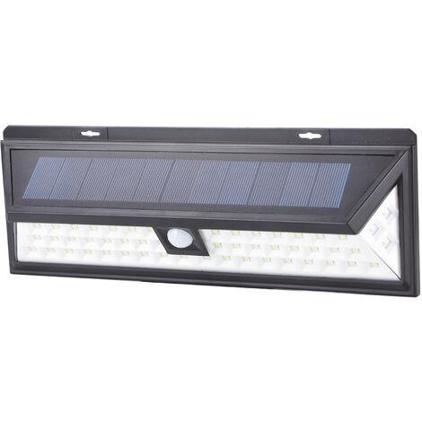 Aplique solar Led negro con sensor crepuscular y de movimiento 10W 400Lm (Electro DH 81.775/2)