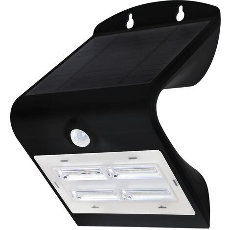 Aplique solar Led negro con sensor crepuscular y de movimiento 3,2W 400Lm 6000°K (GSC 200205023)