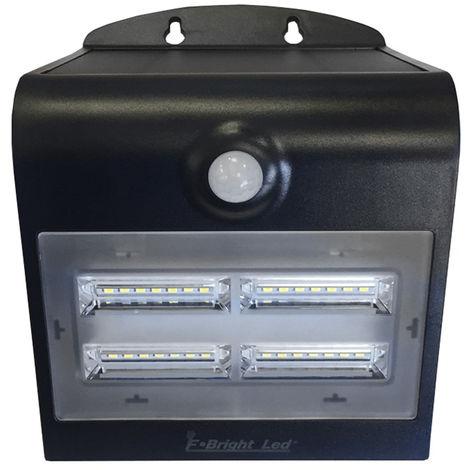 Aplique solar Led recargable con sensor y doble luz + 3 modos negro 3,2W (F-Bright 2075001-N)