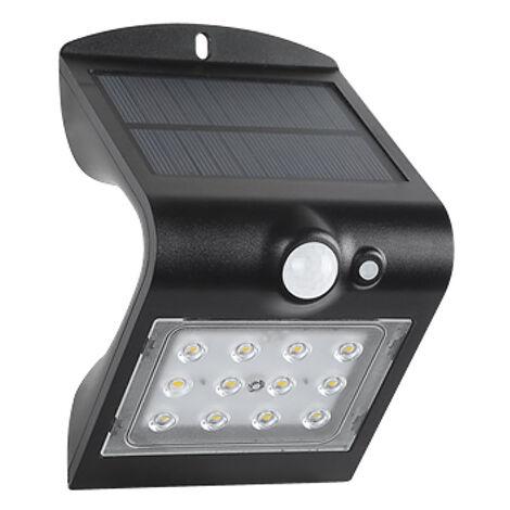 Aplique solar Led recargable con sensor y doble luz negro 1,5W (F-Bright 2075000-N)