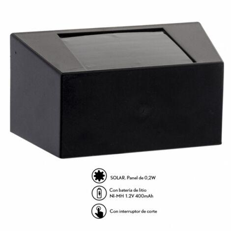 Aplique Solar Quartino Negro 10,2x5,08x5,10 5h Aprox. De Bateria / 3x0,07w 6000k