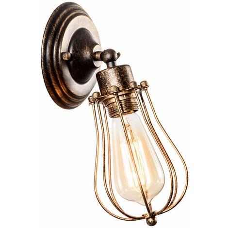 Apliques de pared industrial Lámpara vintage de iluminación ajustable Lámpara de alambre rústico Jaula de metal Aceite de pared frotada Luz de sombra estilo Edison(color (bronce)