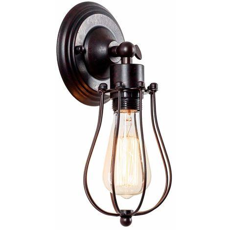 Apliques de pared industrial Lámpara vintage de iluminación ajustable Lámpara de alambre rústico Jaula de metal Aceite de pared frotada Luz de sombra estilo Edison(color Óxido)