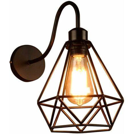 Apliques de Pared Vintage Jaula Lámpara Industrial Lámpara de Pared,Casquillo E27,Color (Negro)Metal Sconce sombra de iluminación