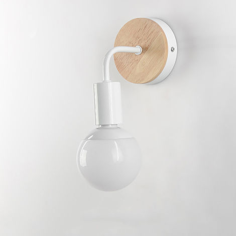 Apliques Focos Moderno Forma L 7 Madera redonda Lampara de pared Base de Madera Exquisito Loft Oficina Cocina Pasillo Cama Luz Nocturna