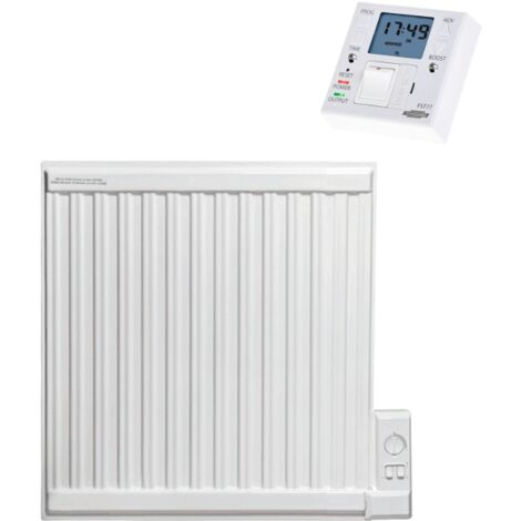 APO eco Oil-Filled Electric Radiator / Radiant Wall Heater + Fused Spur Timer