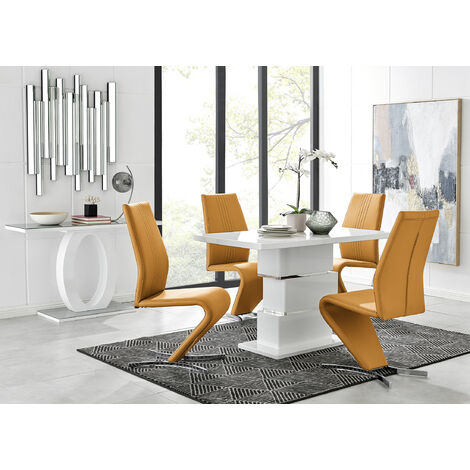 Apollo Rectangle White High Gloss Chrome Dining Table And 4 Willow Chairs Set
