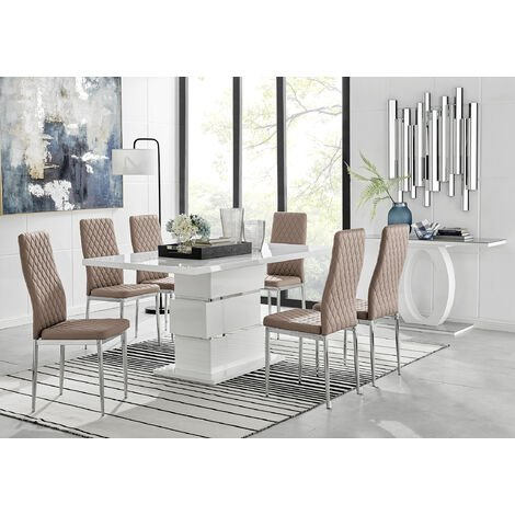 """main image of """"Apollo Rectangle White High Gloss Chrome Dining Table And 6 Milan Chairs Set"""""""