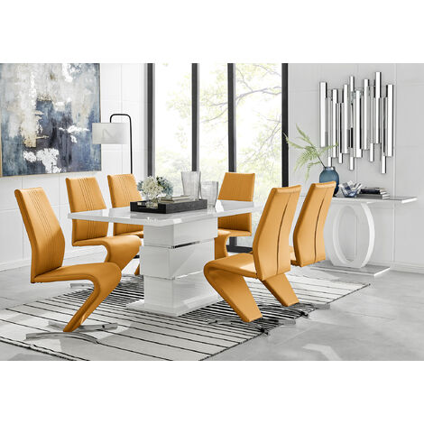 """main image of """"Apollo Rectangle White High Gloss Chrome Dining Table And 6 Willow Chairs Set"""""""