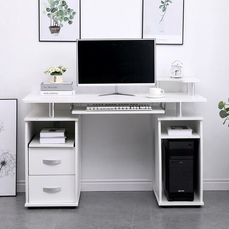 """main image of """"Apollo White Computer Desk PC Laptop Table Home Office Study Workstation Gaming"""""""