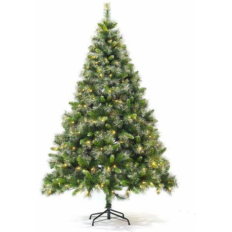 APOLLON - Sapin de Noël artificiel Deluxe de 210 cm avec guirlande lumineuse et pied inclus