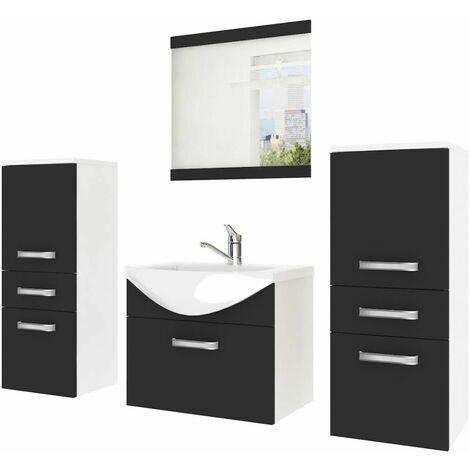 APOLO | Ensemble meubles salle de bain 5 pcs 50 cm | Miroir + Lavabo + Meuble sous lavabo | Vasque céramique - Noir/Blanc