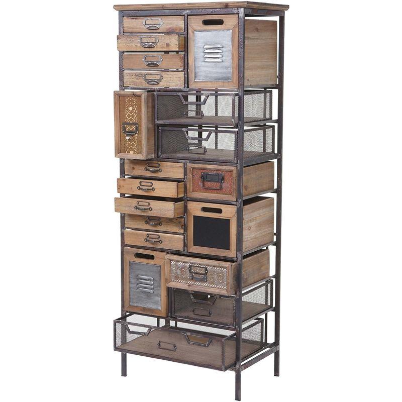 Apotheker-Schrank HHG-067, Kommode, Tanne Holz massiv Vintage Shabby-Look 143x56x33cm