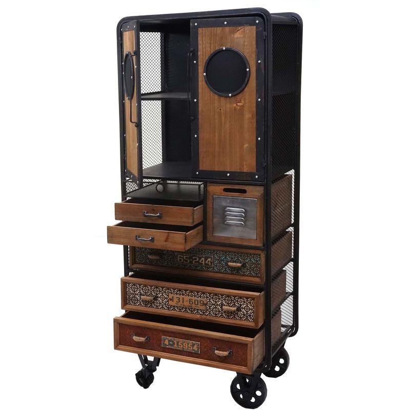Apotheker-Schrank HHG-317, Kommode Rollwagen Metallregal, Tanne Holz Vintage Shabby-Look 146x60x35cm