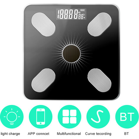 App Bt Body Fat Scales Intelligent Poids Solaire-Power Balance De Haute Precision Cadeau Pour Les Soins De Sante Corps Famille, Noir Argent