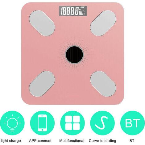 App Bt Body Fat Scales Intelligent Poids Solaire-Power Balance De Haute Precision Cadeau Pour Les Soins De Sante Corps Famille, Rose