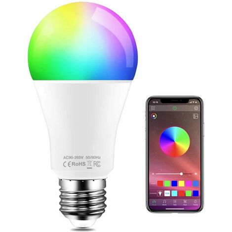 APP Controlled Color Led Bulb, RGBW Color Changing Dimmable Music Sync E27 Edison RGB Multicolor Lamps [Energy Class A +]