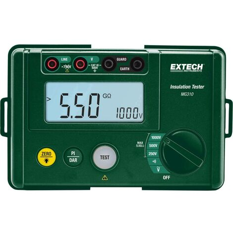 Appareil de mesure disolement Extech MG310 250/500/1000 V/DC 0,00 - 5,5 G CAT III 600 V