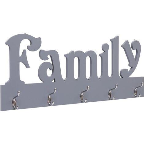 Appendiabiti a Muro FAMILY Grigio 74x29,5 cm