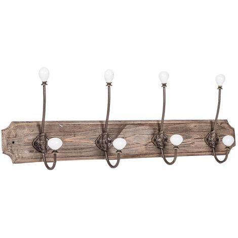 Appendiabiti a parete, ganci appendiabiti attaccapanni da muro in legno e ferro, gancio per giacche cappotti L65xPR10xH21 cm