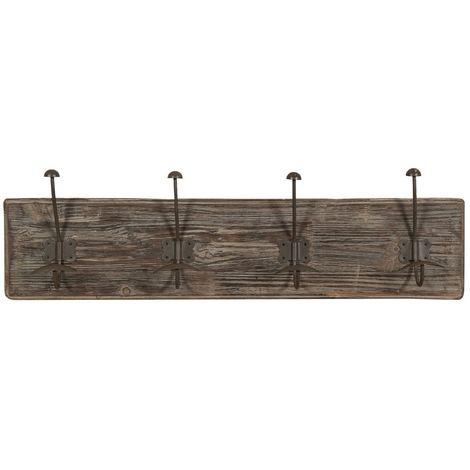 Appendiabiti a parete, ganci appendiabiti attaccapanni da muro in legno e ferro, gancio per giacche cappotti L78xPR10xH21 cm