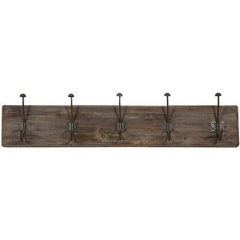 Appendiabiti a parete, ganci appendiabiti attaccapanni da muro in legno e ferro, gancio per giacche cappotti L98xPR10xH21 cm