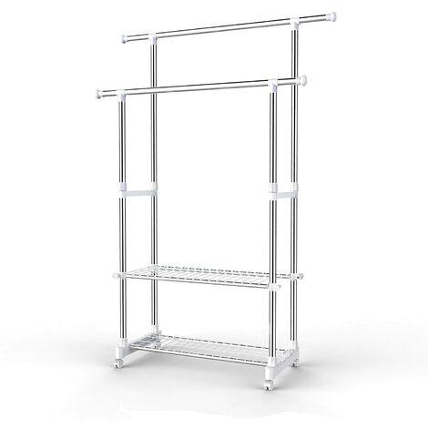 Appendiabiti Attaccapanni Porta Abiti a rotelle con ruote in acciaio altezza regolabile 95-172 cm Stand Stender 2 Aste Ripiani, tubo rivestito di acciaio inox LLR03W
