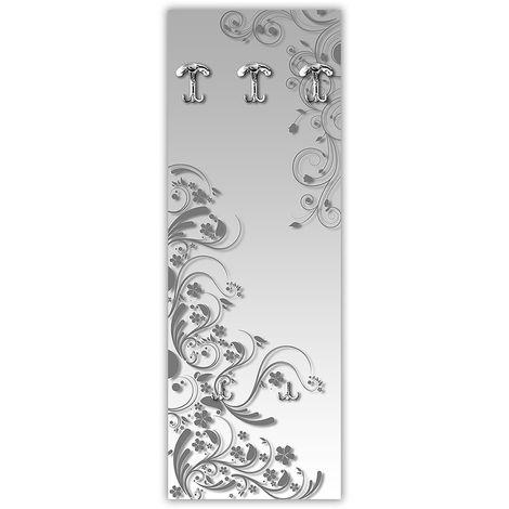 Pannello Appendiabiti A Muro.Appendiabiti Da Parete In Legno 3 Ganci 2 Portaborse Vezzani Modern Flowers Grey