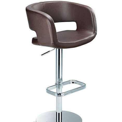 Appius Height Adjustable Brown Bar Stool With Faux Leather Bucket Seat And Armrest