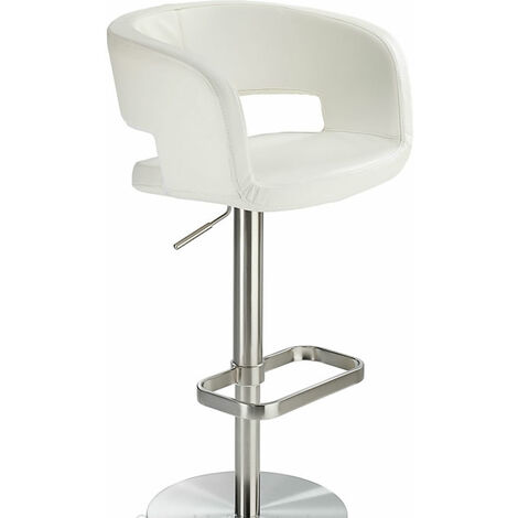 Appius Height Adjustable Brushed Kitchen Bar Stool Faux Leather Black Seat