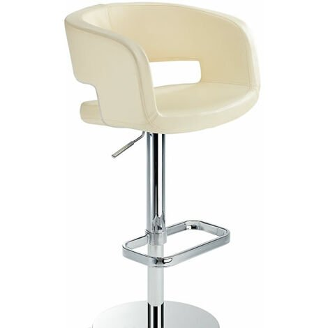 Appius Height Adjustable Cream Bar Stool With Faux Leather Seat And Armrest White Faux Leather Metal White 57 - 79 cm Chrome
