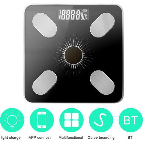 Application de charge solaire Bluetooth Smart Balance electronique de sante humaine Mesure du poids Balance de graisse corporelle Noir argente
