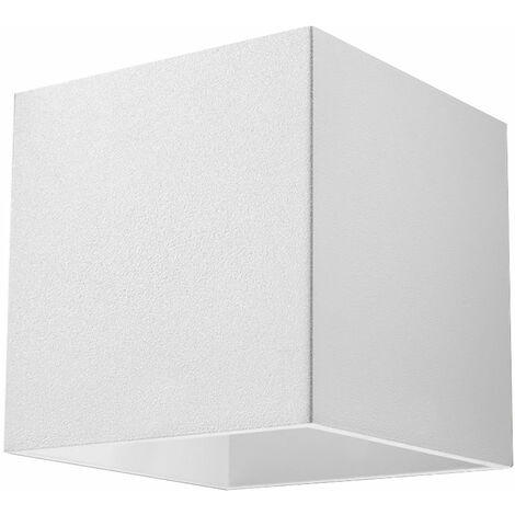 Applique à l'intérieur Lampe Up and Down Applique couloir Lampe Up and Down à l'intérieur, aluminium carré blanc, 1x G9, LxH 10x10 cm, cage d'escalier du salon