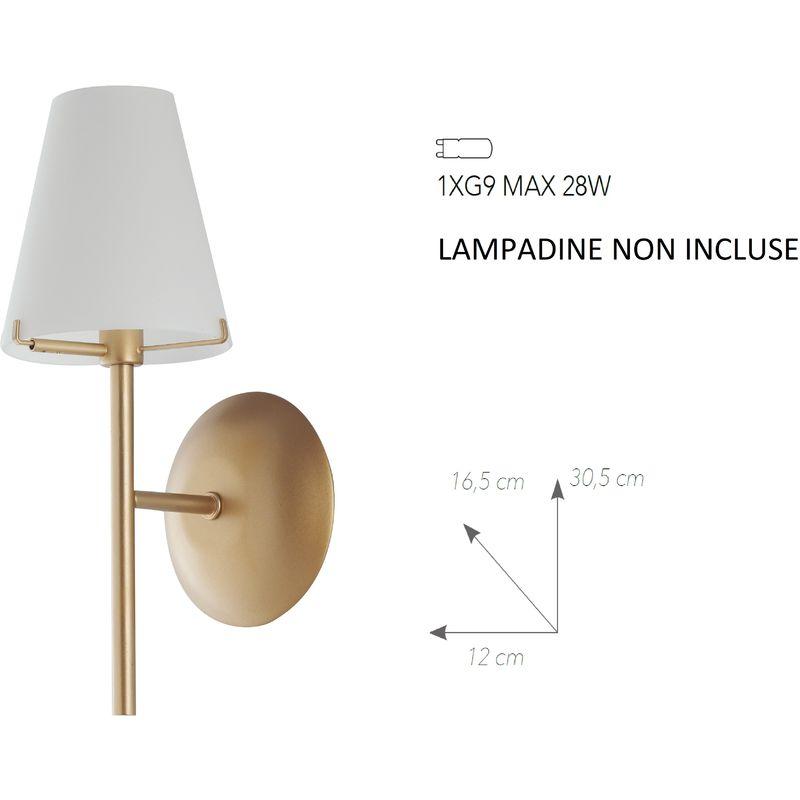 Applique a parete canto design classico in metallo oro e diffusori