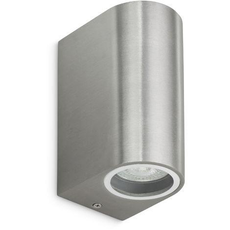 Applique Aluminium bi-directionnelle 2xGU10 Inox