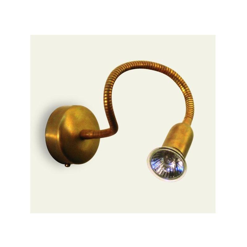 Applique ba-fox a1 gu10 led ottone flessibile orientabile lampada parete spot classica rustica interno - LAMPADARI BARTALINI