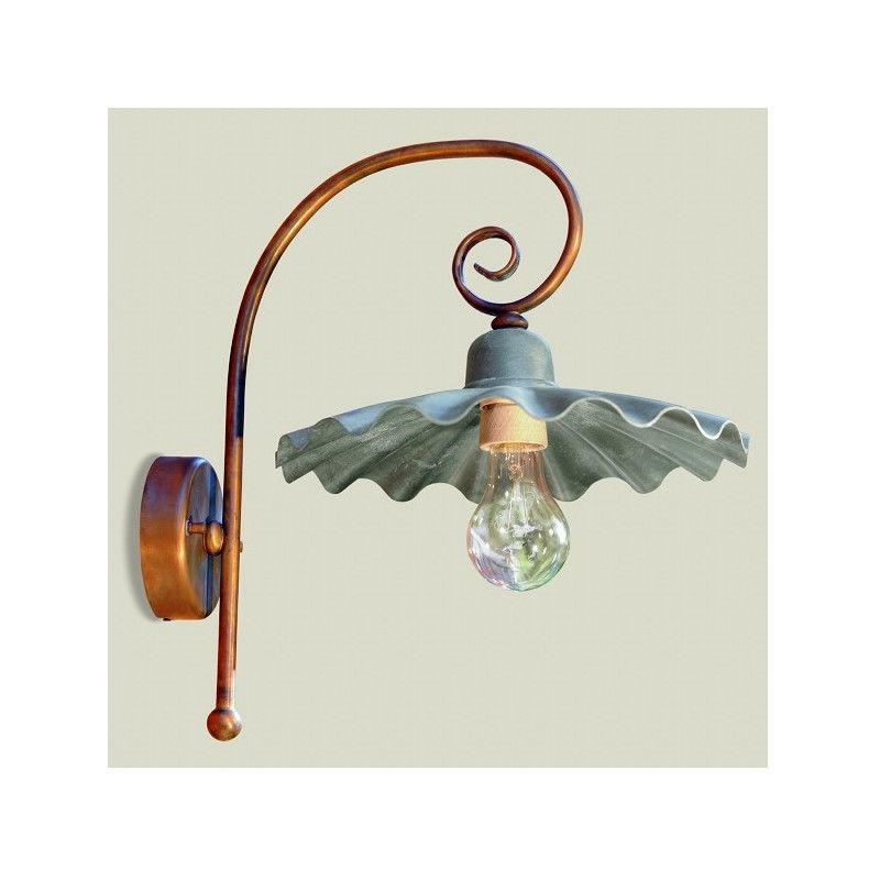 Lampadari Bartalini - Applique ba-gaia braccio ricciolo lampada parete rustica ottone alluminio esterno e27