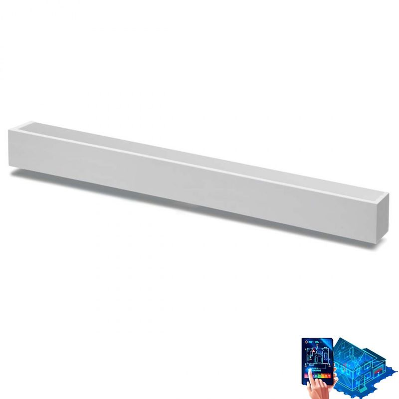 Belfiore-9010 - Applique belfiore 9010 2422b 16w led 62cm wireless gesso bianco verniciabile monoemissione lampada parete moderna - BELFIORE - 9010