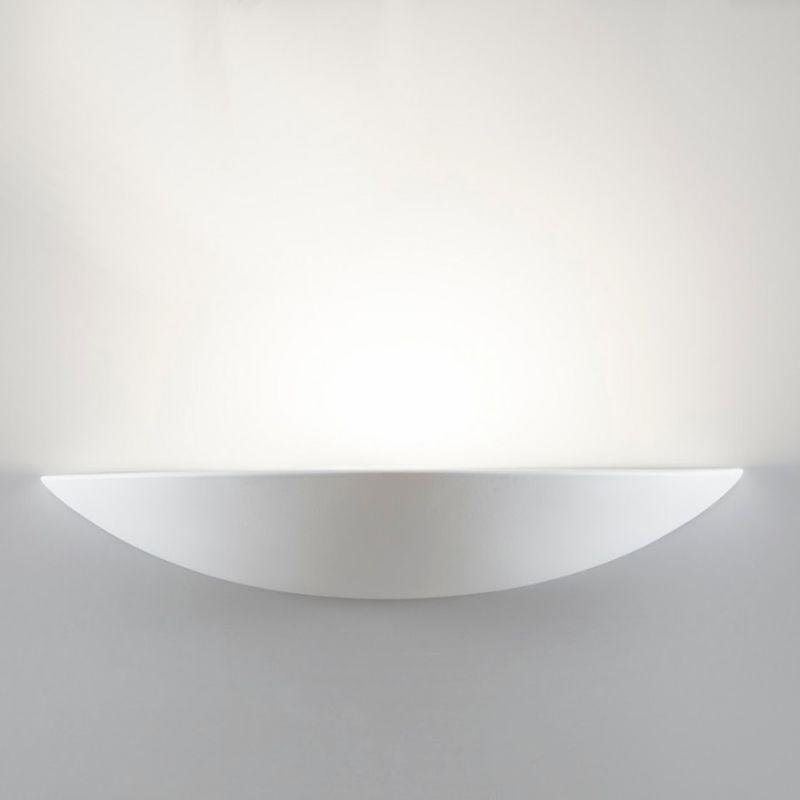 Applique bf-7578 41 60cm e27 led gesso bianco verniciabile lampada parete vaschetta interno ip20
