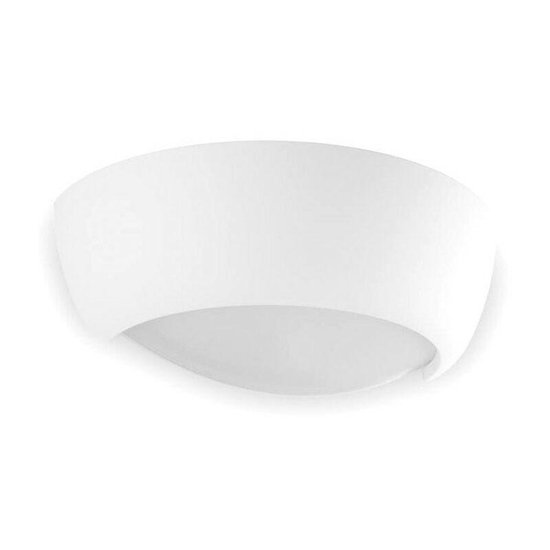 Applique bf-8215 53 r7s led 9010 belfiore gesso bianco verniciabile biemissione lampada parete vaschetta vetro interno